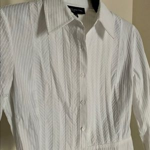 Cool Jones NY White Textured Peplum Buttondown S